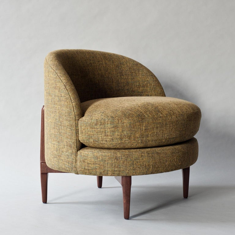 Modern Belle Side Chair by DeMuro Das with Walnut Legs For Sale