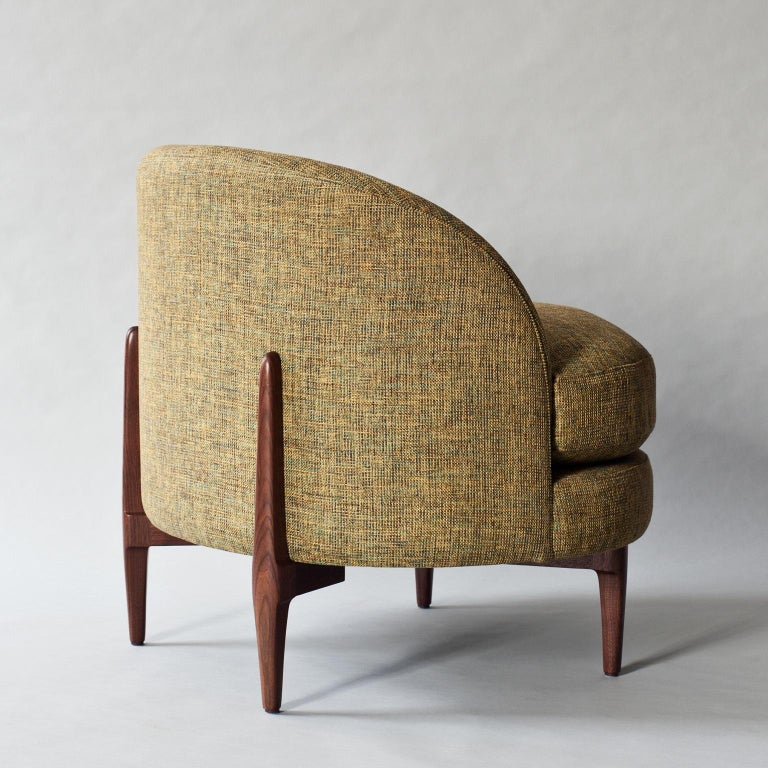Indian Belle Side Chair by DeMuro Das with Walnut Legs For Sale
