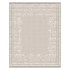 Belle Vue Pearl - Floral Contemporary Hand Knotted Wool Blend-silk Rug