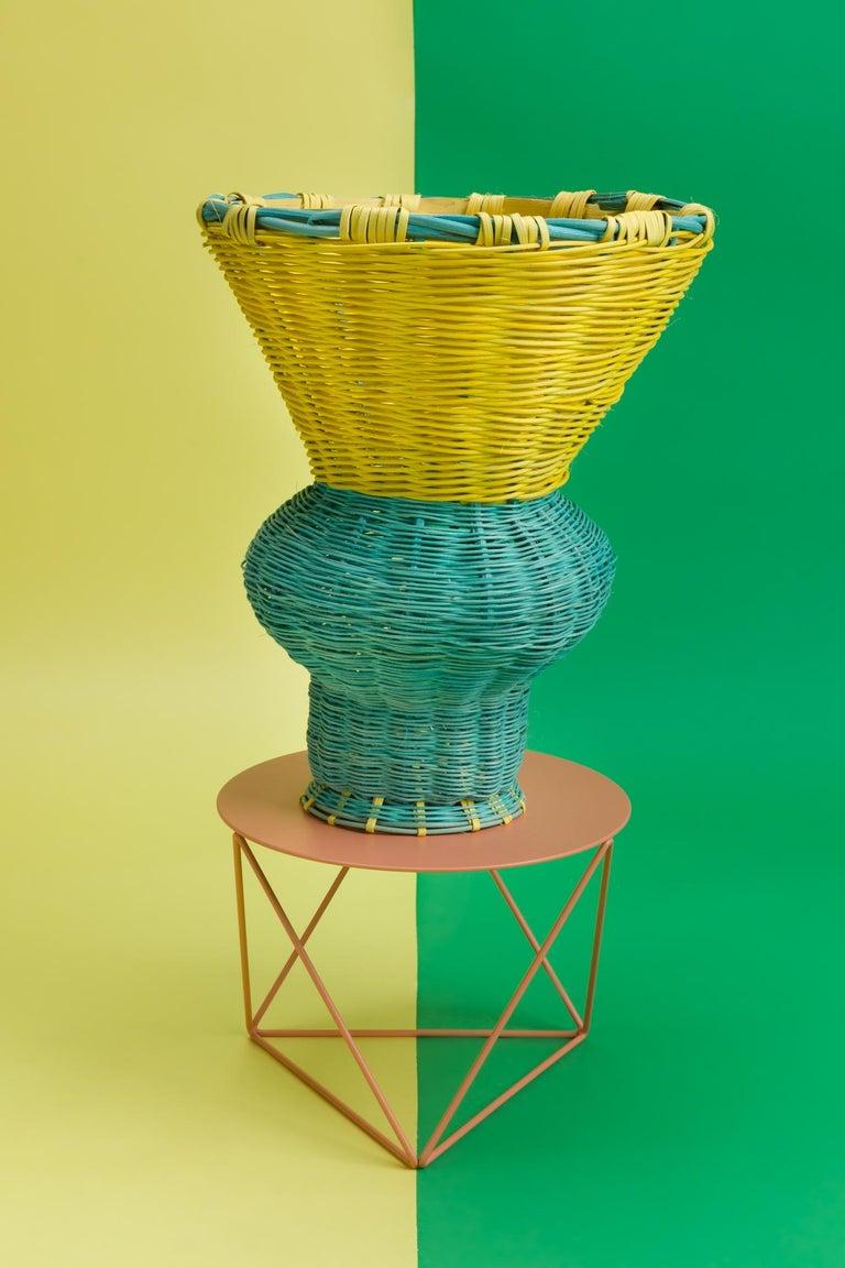 American Belle Vase Woven in Emerald and Lemon, by Studio Herron For Sale