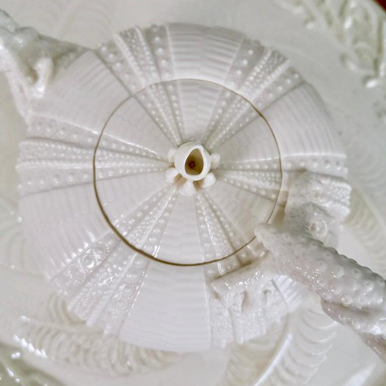 Belleek Porcelain Cabaret Tea Set, White Echinus, Victorian 1867-1926 For Sale 4