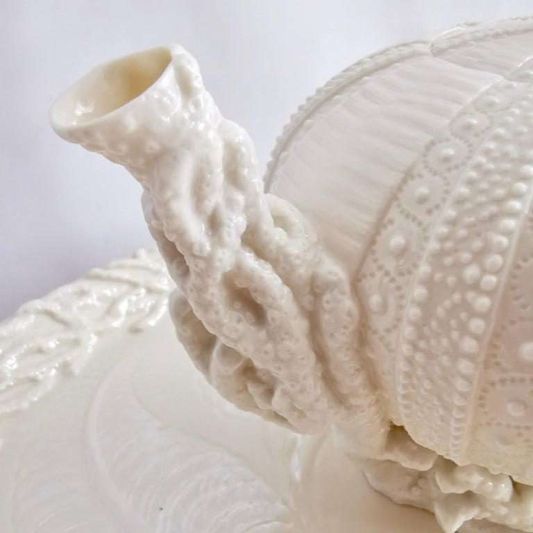 Belleek Porcelain Cabaret Tea Set, White Echinus, Victorian 1867-1926 For Sale 6