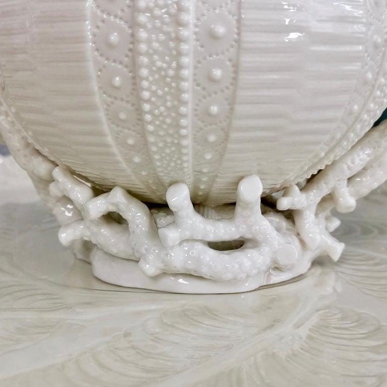 Belleek Porcelain Cabaret Tea Set, White Echinus, Victorian 1867-1926 For Sale 8