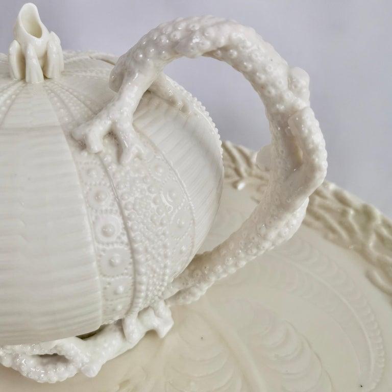 Belleek Porcelain Cabaret Tea Set, White Echinus, Victorian 1867-1926 For Sale 9