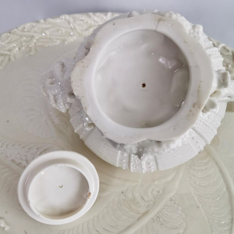 Belleek Porcelain Cabaret Tea Set, White Echinus, Victorian 1867-1926 For Sale 12