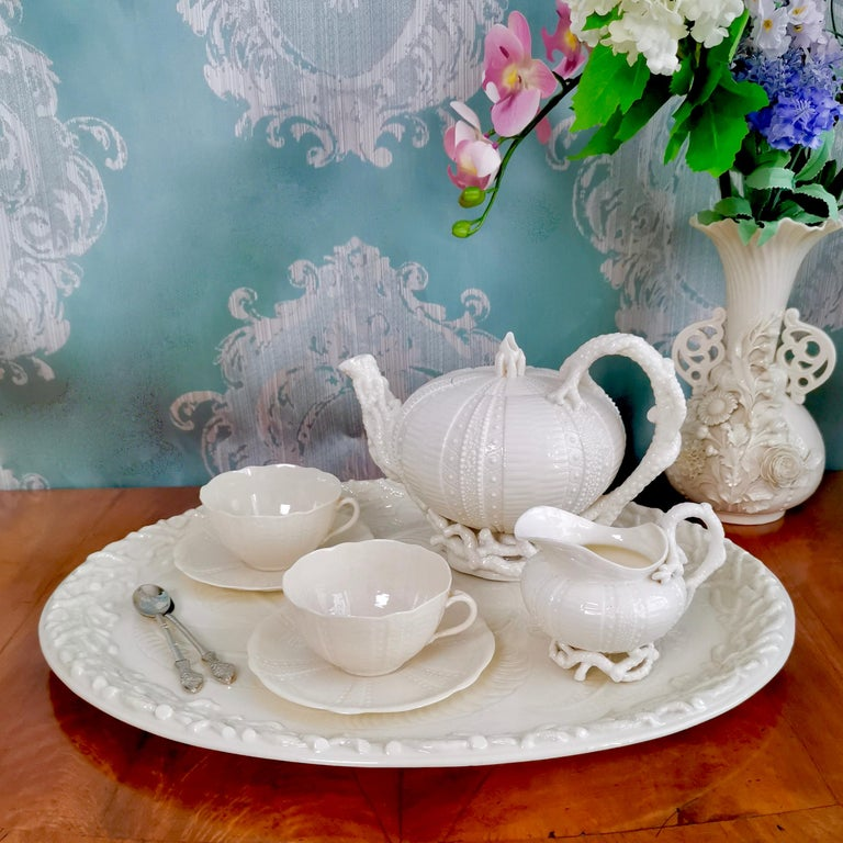 This is a very rare Belleek cabaret set for two, or