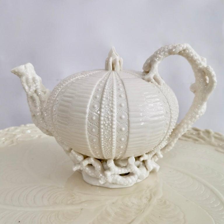 Late Victorian Belleek Porcelain Cabaret Tea Set, White Echinus, Victorian 1867-1926 For Sale