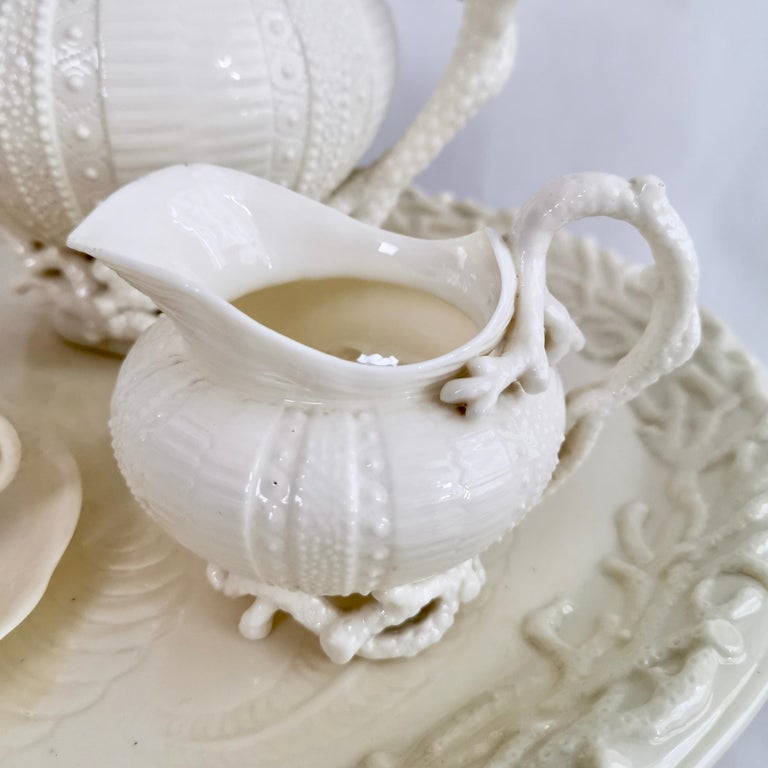 Northern Irish Belleek Porcelain Cabaret Tea Set, White Echinus, Victorian 1867-1926 For Sale