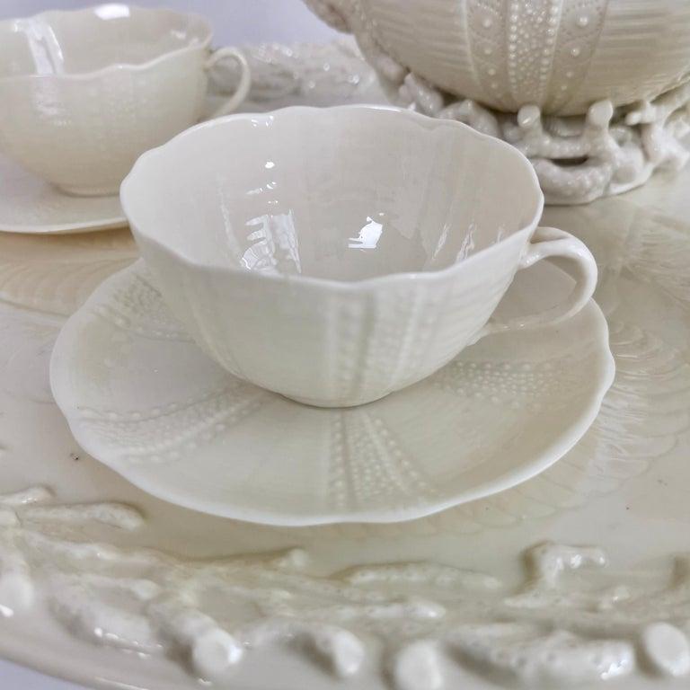 Belleek Porcelain Cabaret Tea Set, White Echinus, Victorian 1867-1926 In Good Condition For Sale In London, GB