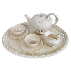 Belleek Porcelain Cabaret Tea Set, White Echinus, Victorian 1867-1926