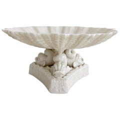 Belleek Comport, White Parian Porcelain on Dolphin Foot, Victorian, 1863-1891