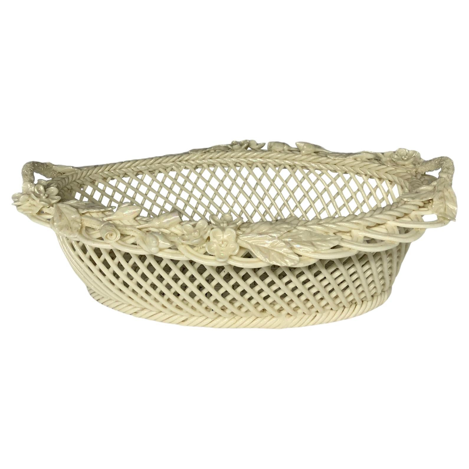Belleek Pearly Paria Porcelain Woven Basket