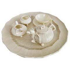 Belleek Porcelain Cabaret Tea Set, White Japonism Dragon, Victorian 1863-1891