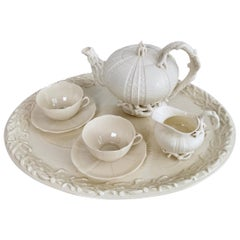 Belleek Porcelain Cabaret Tea Set, White Echinus, Victorian, 1867-1926