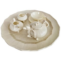Belleek Porcelain Cabaret Tea Set, White, Japonism Dragon, Victorian, 1863-1891