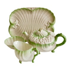 Belleek Porcelain Cabaret Teapot Set, Green Neptune, Victorian, 1891-1926