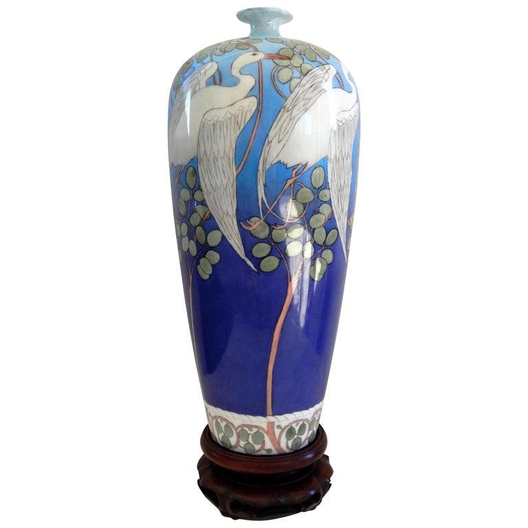 Belleek Willets Art Nouveau Hand Painted Porcelain Vase, 1908 For Sale