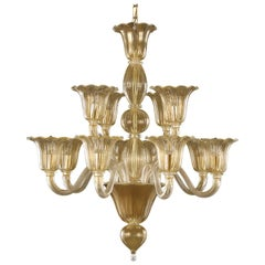 Artistic Chandelier 8+4arms golden leaf Murano Glass upward lights by Multiforme