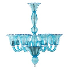 21st Century Chandelier 8 arms, Rigadin Aquamarine Murano Glass by Multiforme