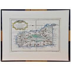 "Bellin 18th Century Hand Colored Map of ""L'isle de Sainte Lucie"" 'St. Lucia'"