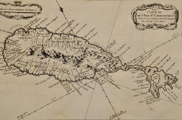 Jacques Bellin's copper-plate map of the Caribbean island of Saint Kitts entitled