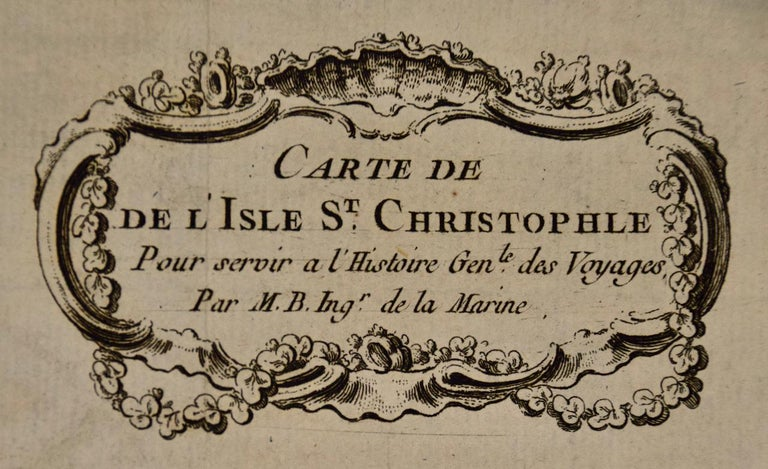 French Bellin 18th Century Hand Colored Map of St. Christophe 'St. Kitts' For Sale