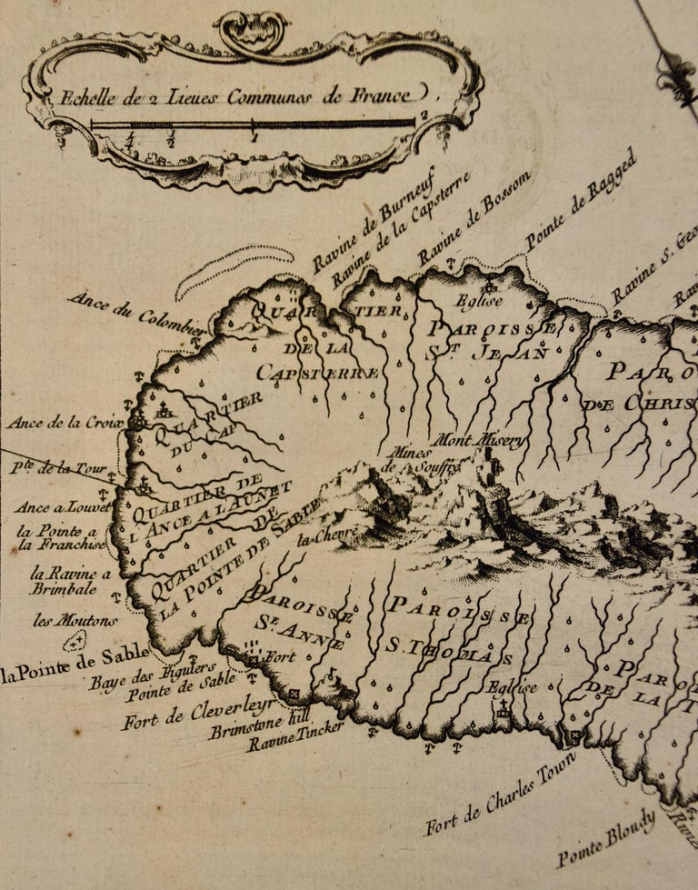 Bellin 18th Century Hand Colored Map of St. Christophe 'St. Kitts' In Good Condition For Sale In Alamo, CA