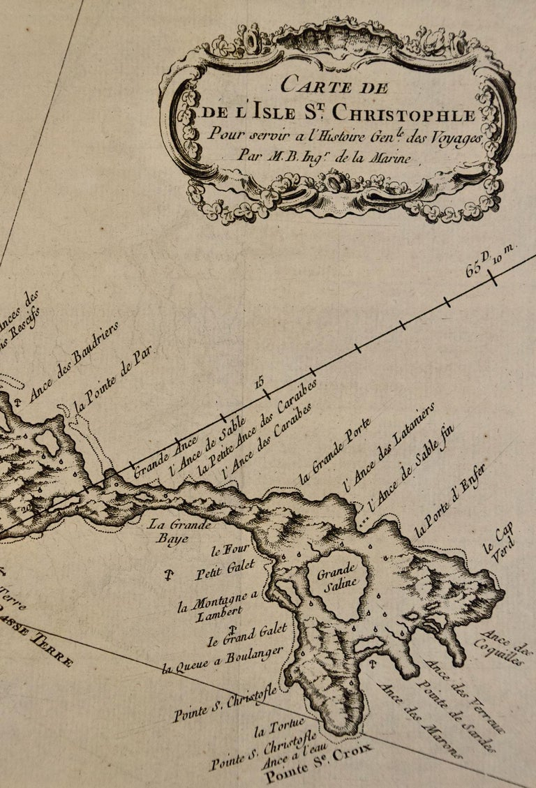 Paper Bellin 18th Century Hand Colored Map of St. Christophe 'St. Kitts' For Sale