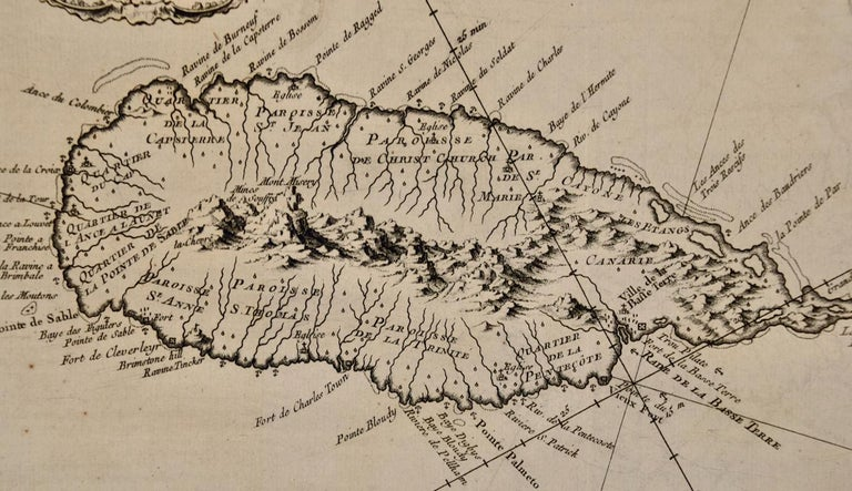 Bellin 18th Century Hand Colored Map of St. Christophe 'St. Kitts' For Sale 1