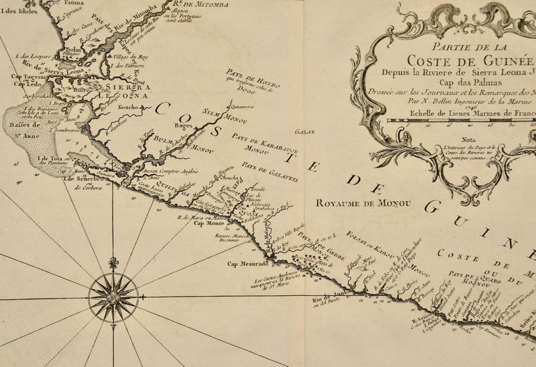 French Bellin 18th Century Map of the West Coast of Africa, Guinea & Sierra Leone For Sale