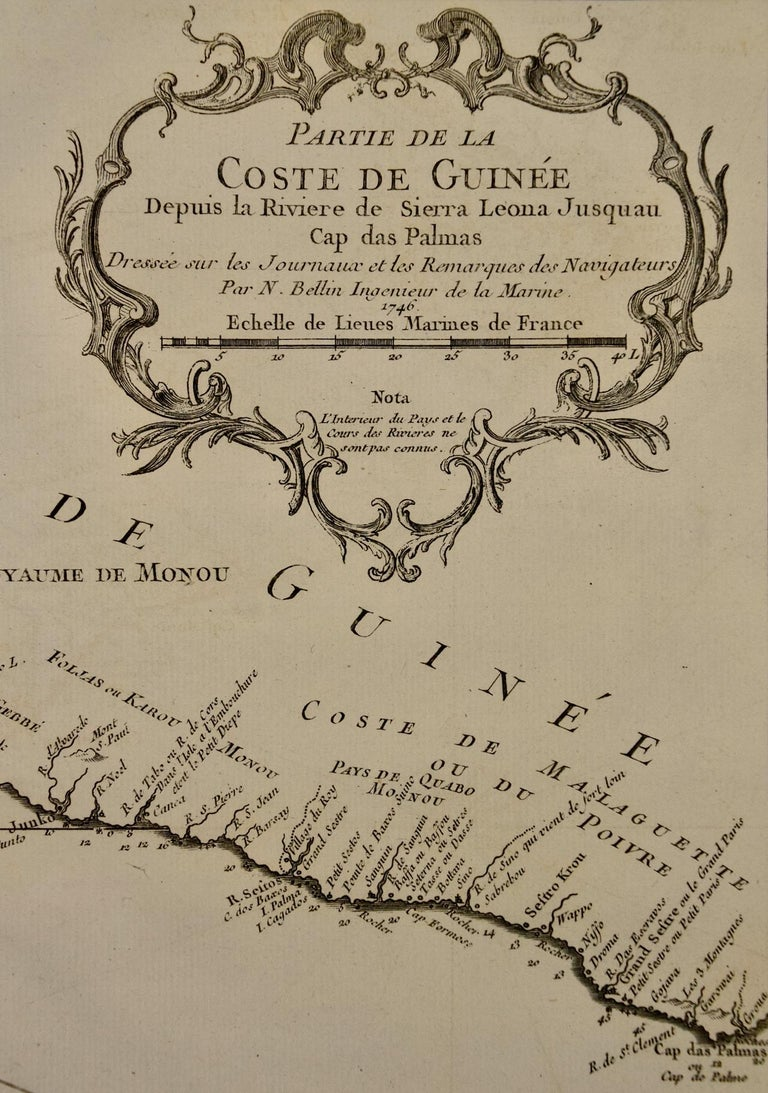 Bellin 18th Century Map of the West Coast of Africa, Guinea & Sierra Leone In Good Condition For Sale In Alamo, CA
