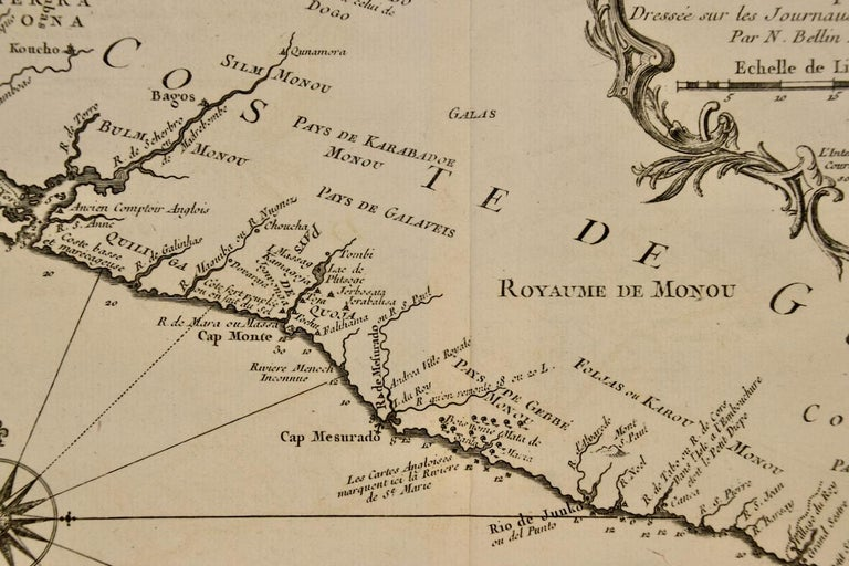 Paper Bellin 18th Century Map of the West Coast of Africa, Guinea & Sierra Leone For Sale
