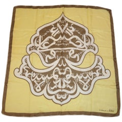 "Bellolti Wonderful Warm Brown & Ivory ""Emblem"" Silk Scarf"