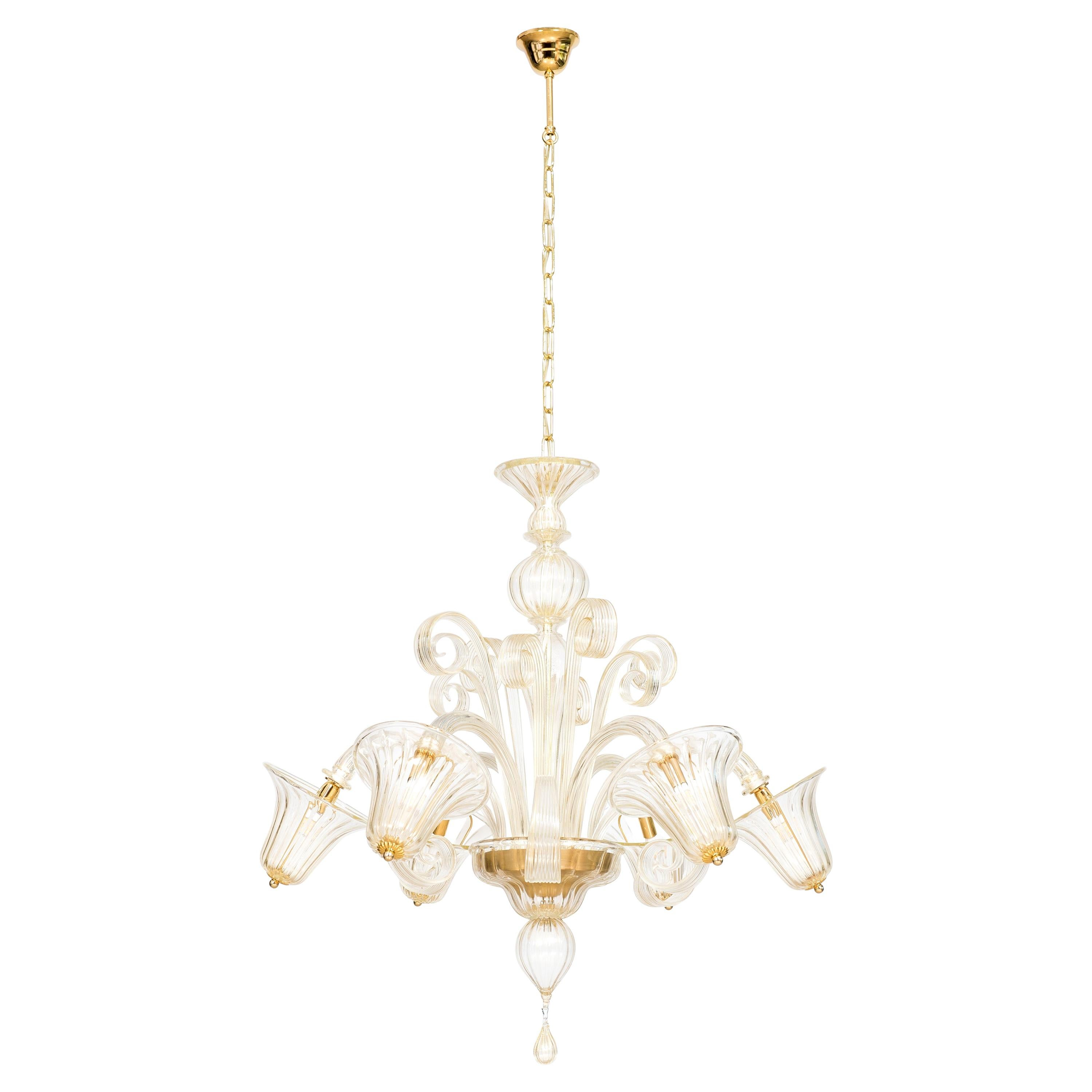 Bells and Pastorals Chandelier Blown Murano Glass Gold Color Contemporary, Italy