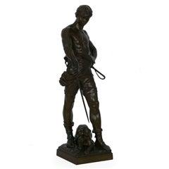 """Belluaire"" French Antique Bronze Sculpture by Eugene Marioton"