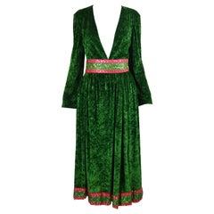 Bellville Sassoon Hippie Luxe Vintage Green Panne Velvet 3 Piece Skirt Set 1970s