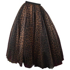 Bellville Sassoon Vintage Leopard Print Huge Full Tulle Evening Skirt, 1980s