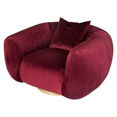 Modern Upholstery Belly Armchair in Red Velvet and Polished Brass Foot