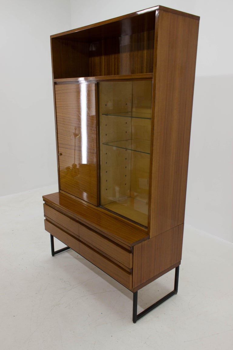 Mid-Century Modern Belmondo Mahogany Cabinet with Shelves and Drawers in High Gloss Finish, 1970 For Sale