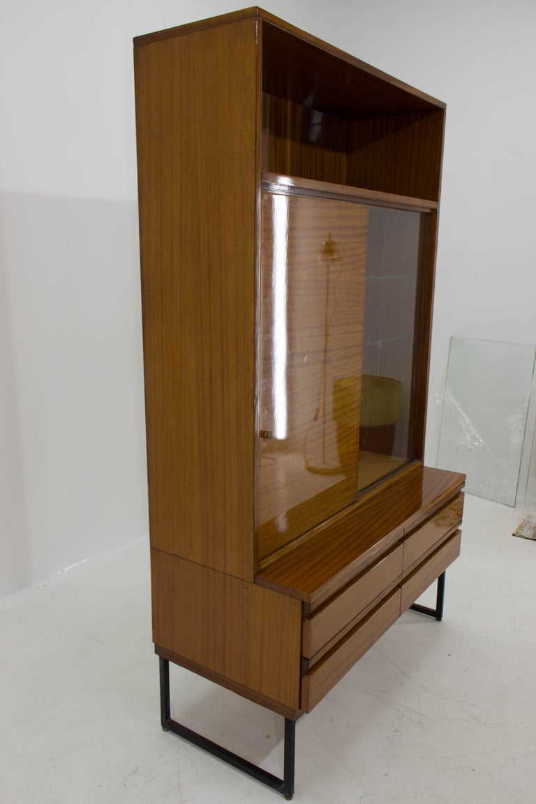 Czech Belmondo Mahogany Cabinet with Shelves and Drawers in High Gloss Finish, 1970 For Sale