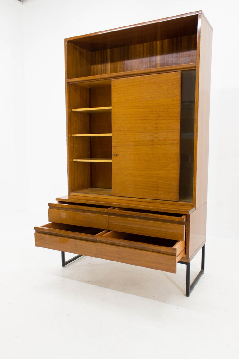 Belmondo Mahogany Cabinet with Shelves and Drawers in High Gloss Finish, 1970 In Good Condition For Sale In Barcelona, ES