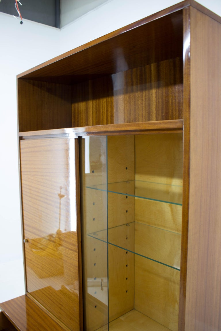 Late 20th Century Belmondo Mahogany Cabinet with Shelves and Drawers in High Gloss Finish, 1970 For Sale