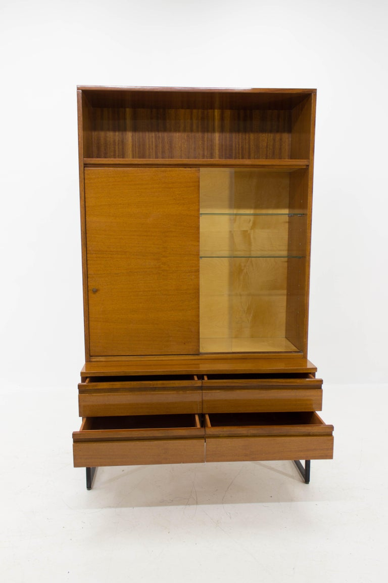 Belmondo Mahogany Cabinet with Shelves and Drawers in High Gloss Finish, 1970 For Sale 2