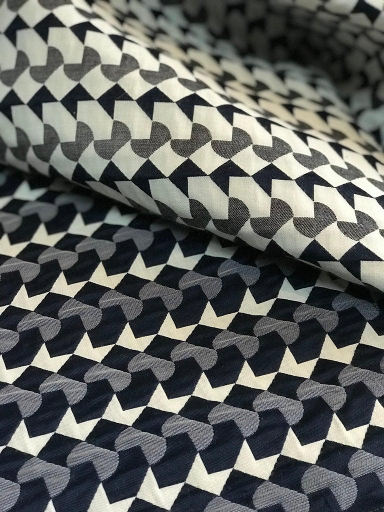 Cotton Belo Pattern Cushion Curvature Collection Inspired by Brazilian Architecture For Sale