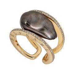 Keshi Pearl Ring Set in Gold