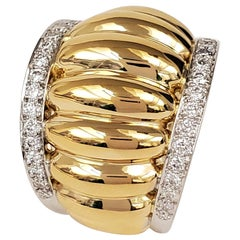 Belperron 'Godrons' Gold Platinum and Diamond Ring