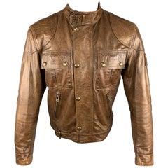 BELSTAFF 36 Brown Leather Zip & Snaps Distressed Motorcycle Jacket