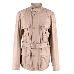 Belstaff Beige Leather Trialmaster Belted Jacket - Size US 8