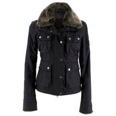 Belstaff Black Waterproof Jacket w/ Fur Collar and Cuffs XXS