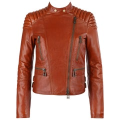 "BELSTAFF c.2013 ""Sydney"" Molasses Brown Asymmetrical Quilted Leather Moto Jacket"